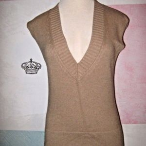 Light Brown Tan V Neck Soft Stretch Sweater Vest S